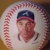 Greg Maddux portrait on a baseball by Gregg Packer