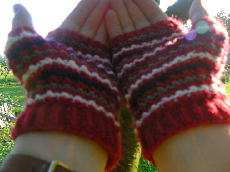 coloured fingerless knitted gloves - my hand made
