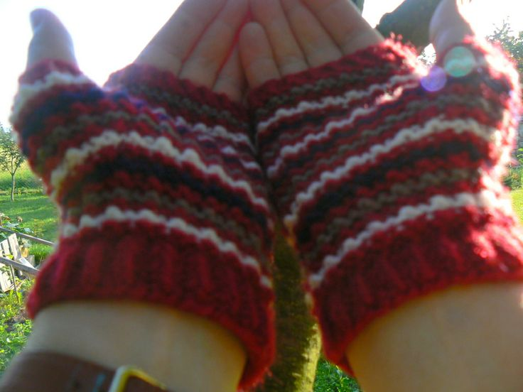 coloured fingerless knitted gloves - my hand made