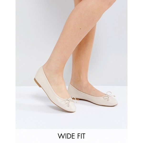 ASOS LIBRA Wide Fit Ballet Flats ($18) ❤ liked on Polyvore featuring shoes, flats, beige, slip on shoes, beige ballet flats, ballet pumps, slip-on shoes and wide width ballet flats