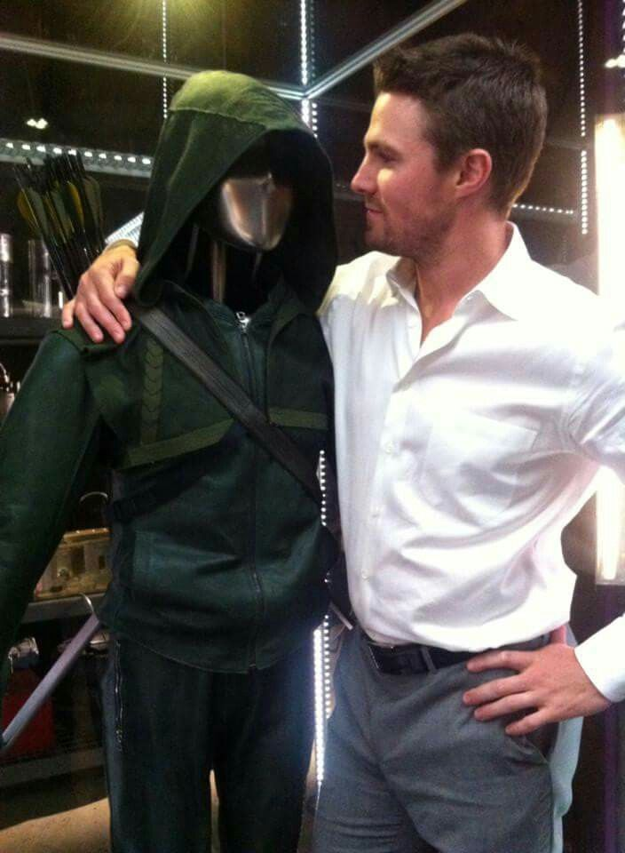 Stephen Amell with the Arrow suit