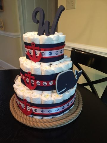 Behind The After: Nautical Theme Baby Boy Diaper Cake