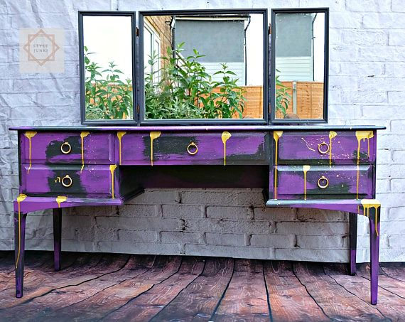 Dressing Table upcycled Dressing table Punk Purple Dressing Table