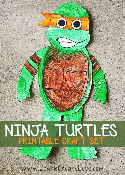 Ninja Turtle Printable Crafts yup doing this with my boys! the question is do I make it that much more fun and cut the pieces from construction paper or felt and let them put them together...the ideas are churning!!