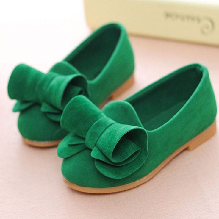 Green todler Baby shoes Princess Bowknot girls genuine leather shoes...
