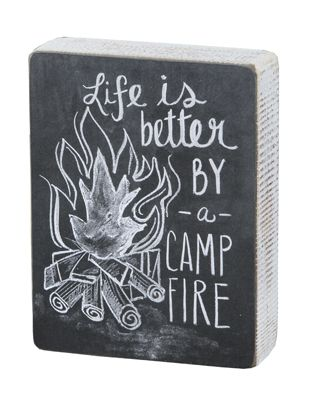 Life is better by a Camp Fire. Cabin and Lake Box Sign
