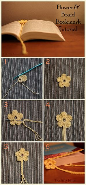 #Flower and Braid #Crochet Bookmark #Tutorial by {F}arah, via Flickr