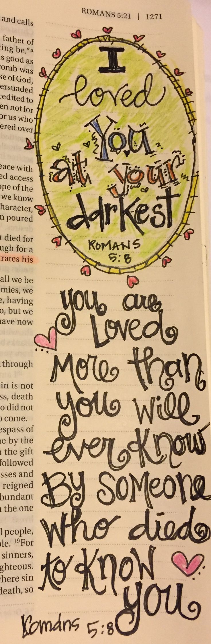 Romans 5:8 Bible journaling Julie Williams art