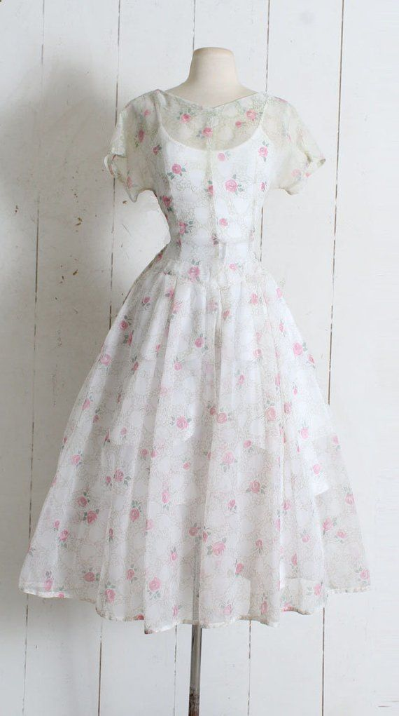 1c88526a520 Women s Skirts -  womensskirts - Vintage 1950s Dress vintage 50s sheer  hearts and roses Womens