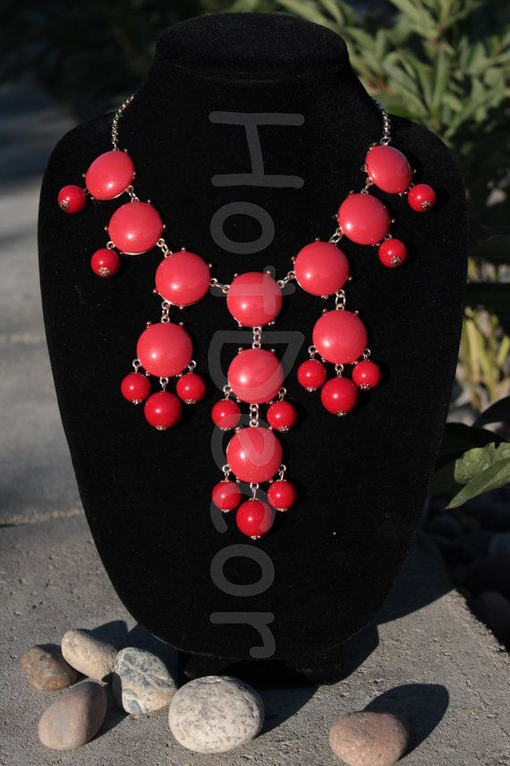 Red necklace Bubble necklace Beaded Necklace Bib by HotDecor