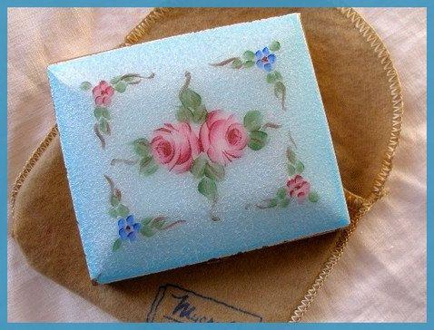 Vintage Enamel Guilloche Compact Blue Pink Roses.