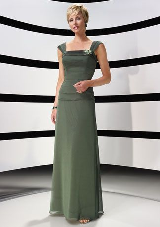 Mature Straps Mother Of Brides Dress With Rhinestone In Green