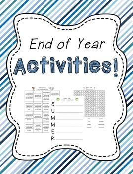 End of Year Activities!  This end of year product contains 8 ready-to-use printables to help students celebrate the end of the year.  The end of year activities include:-an end of year acrostic poem-an end of year Find Somebody Who-a word search-an A-Z reflection-a venn diagram to compare beginning of year to end of year-an end of year writing activity-a making words activity-an end of year top 10 listCheck out the preview to see everything you will be getting.