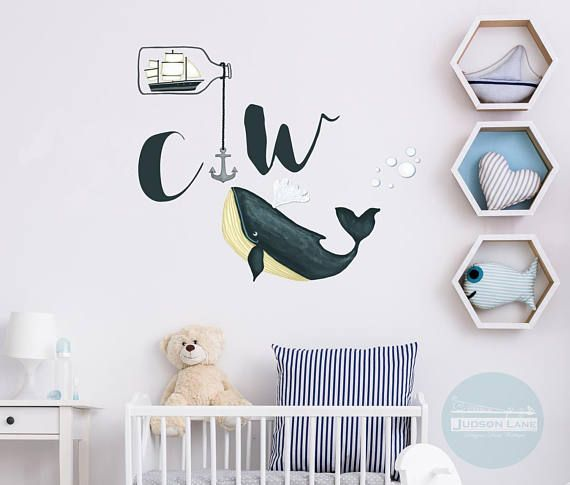 INCLUDED: Youll get everything you need to recreate this look; A set of Hand painted Look decals that are Reposition-able, meaning reusable, Wall Appliques -Sail boat in a bottle - -anchor with chain - -Whale with bubbles & Spout - -Your Choice of *2 Initials (Please tell me in the notes
