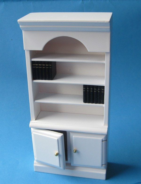 Bücherregal weiss Puppenhaus Möbel für Wohnzimmer, Arbeitszimmer Miniatur 1:12