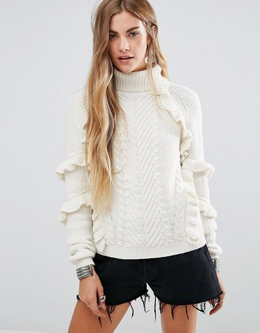 Glamorous | Glamorous Cable Knit High Neck Sweater With Ruffle Detail