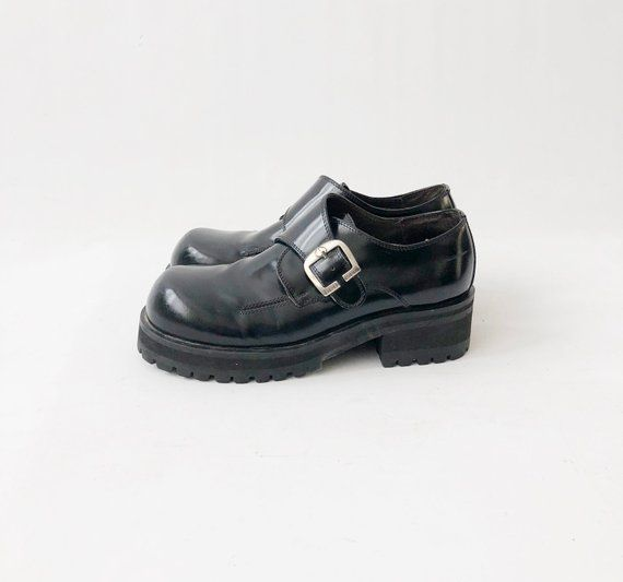 a1a0cc06b3c5f Vintage 90s Chunky Platform Shoes - Patent Punk Black Leather Buckle ...