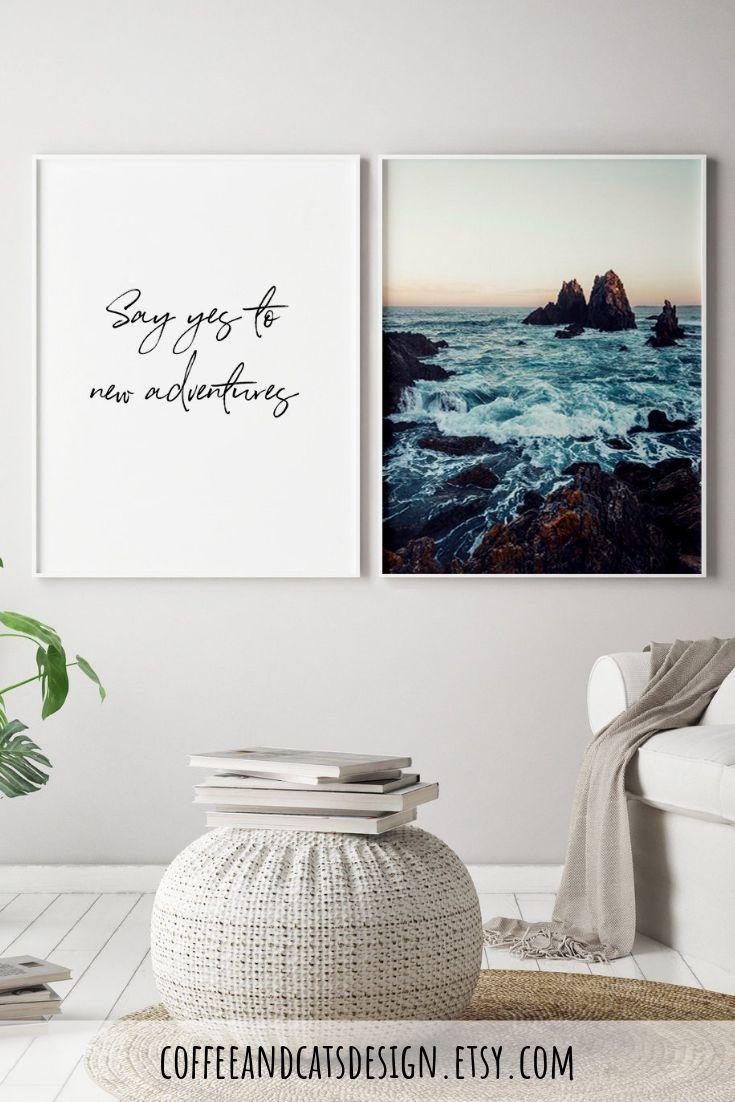 Ocean Wall Art Quote And Ocean Art Print Modern Wall Art Set Etsy Living Room Decor Modern Wall Art Sets Ocean Wall Art