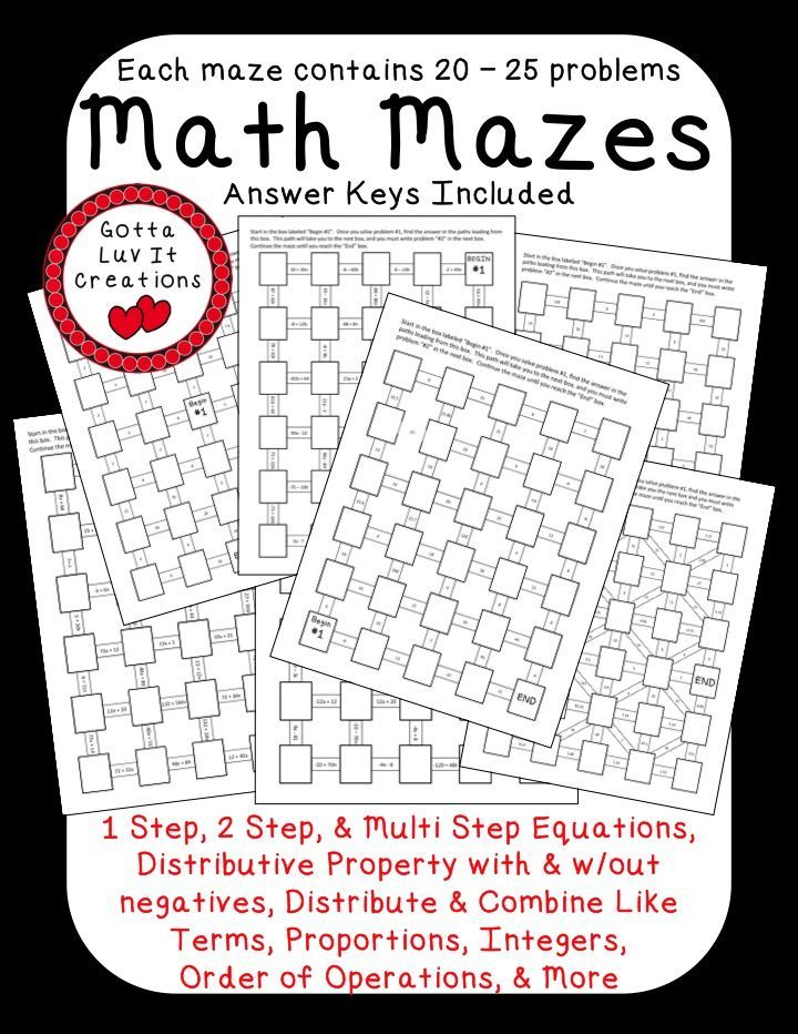 Printables Multi Operational Mathematical Maze 1000 images about algebra on pinterest maze equation and no prep ready to print math mazes covering the following concepts order of