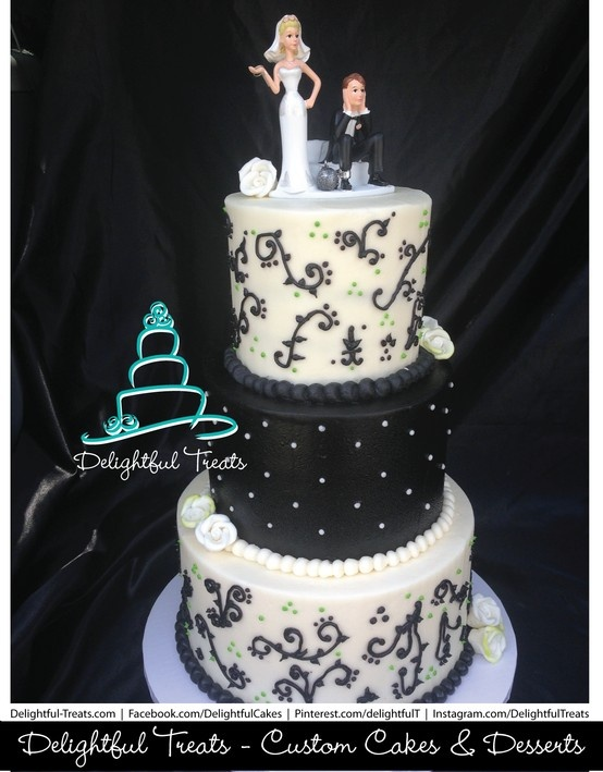 Black White Buttercream Wedding Cake With Lime Green Accents Scroll Piping
