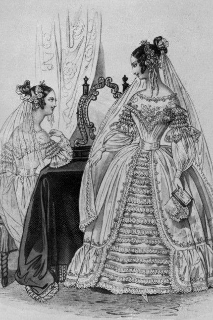 1838 Wedding dress. Winter Fashion Plate Collection via Modes de Paris.