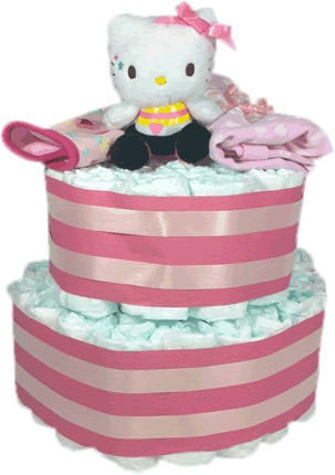 Tarta de pañales Hello Kitty