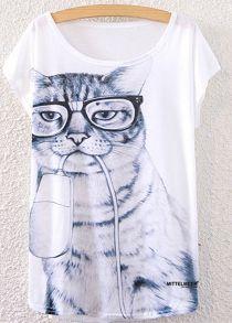 Шик Scoop шеи с коротким рукавом Котенок печати свободно облегающие Женские футболки