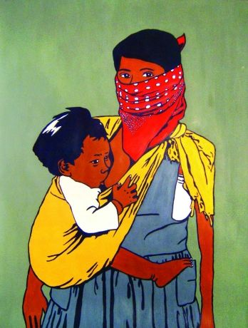 """This painting features a Zapastisa woman who is breastfeeding for the well-being of her child, as an exercise a demonstration of her rights."""