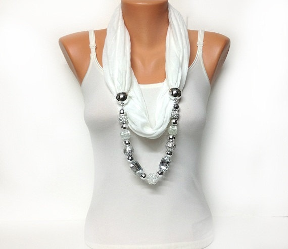 white jewelry scarf