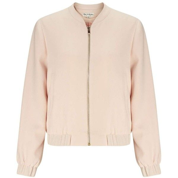 Miss Selfridge Nude Crepe Bomber (€33) ❤ liked on Polyvore featuring outerwear, jackets, nude, miss selfridge, blouson jacket, pink bomber jacket, flight jacket and bomber jacket