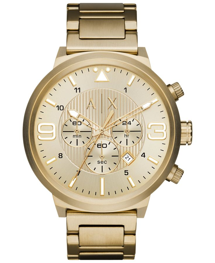 17 best ideas about mens chronograph watches red armani exchange atlc gold tone sunray dial men s chronograph watch
