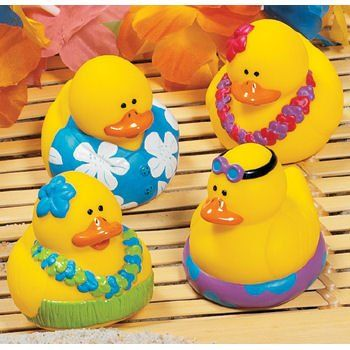 Amazon.com : One Dozen (12) Rubber Duck Duckie Ducky LUAU DUCKIES Hawaiian Hula [Toy] : Luau Party Favor : Toys & Games