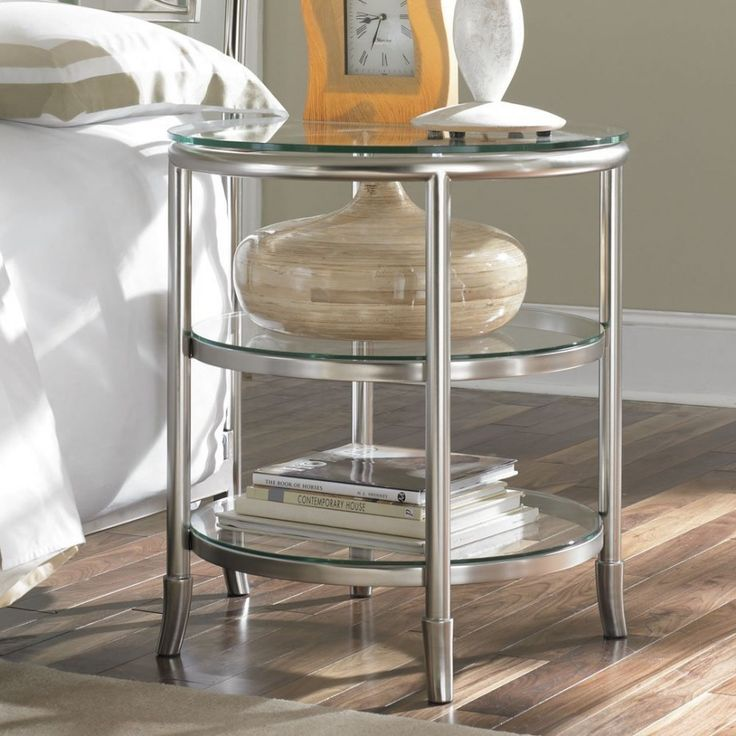 round glass nightstand - Google Search
