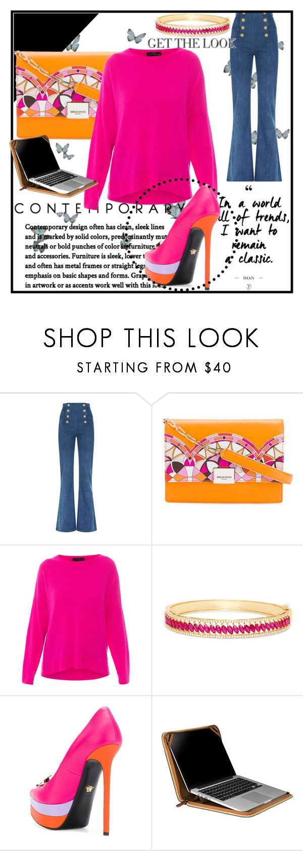"""""""Untitled #1818"""" by airsunshine on Polyvore featuring Balmain, Emilio Pucci, MARC CAIN, Effy Jewelry, Versace and Setton Brothers"""
