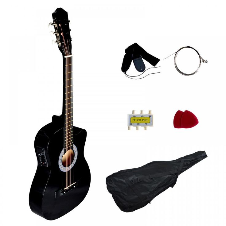 """Black Electric Acoustic Guitar Cutaway Design With Guitar Case, Strap, Tuner T4. 38"""" standard size guitar ;T4 equalizer. Cutaway design ;Basswood body;Birch Neck. Maple Finger board;Maple Bridge. 1x Carrying Case;. 1x Strap;1x guitar pick;1x pitch pipe."""