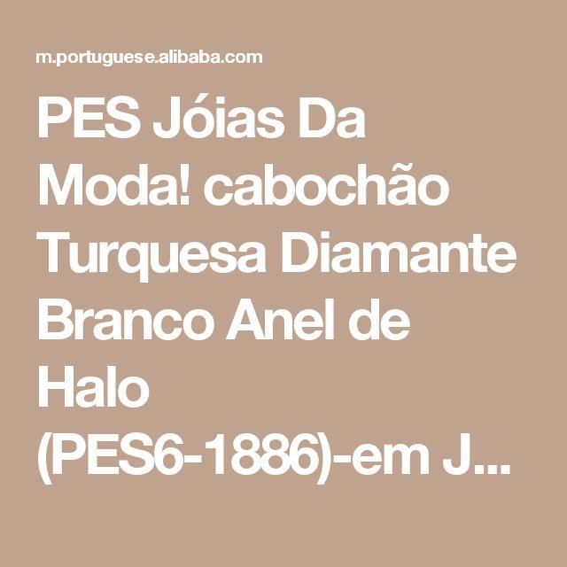 PES Jóias Da Moda! cabochão Turquesa Diamante Branco Anel de Halo (PES6-1886)-em Joias de prata de Joias preciosas em m.portuguese.alibaba.com.
