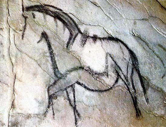"""LE PORTEL  - Ariège - France - grotte ornée découverte en 1906 - le """"cheval qui piaffe"""", une des plus belles peintures de cette grotte - magdalénien final"""