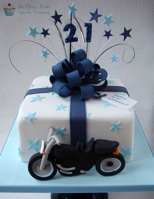 Motorbike Present Cake by The Clever Little Cupcake Company (Amanda), via Flickr