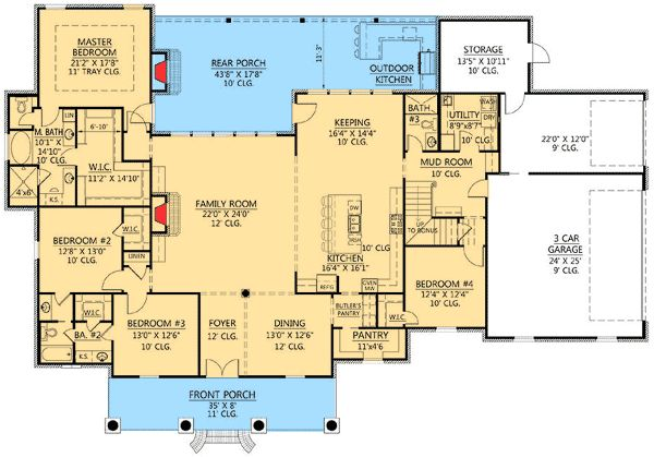 Plan W56376SM: European, Corner Lot, French Country, Acadian House Plans & Home Designs