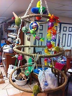 hoops for birdies! good idea for my hoop supply scraps.