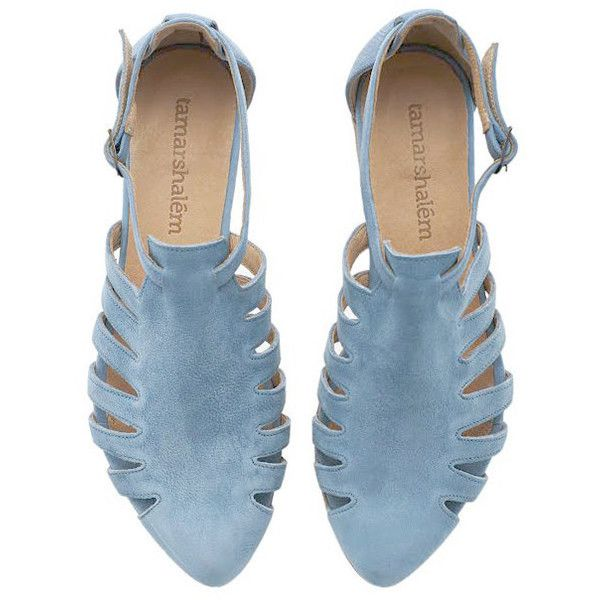 Final Light Blue Leather Handmade Flat Sandals Alice Sandals by Tamar... (£135) ❤ liked on Polyvore featuring shoes, sandals, silver, women's shoes, flat pumps, leather flats, flat heel shoes, leather sandals and urban style flats