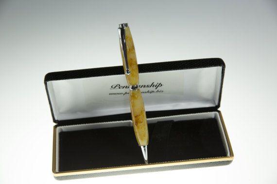 Fancy Slimline Pen in Golden brown Acrylic by PenmanshipAustralia