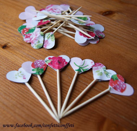 24 x Cath Kidston Pink Strawberry Rose Heart by ConfettiConffeti, $4.80