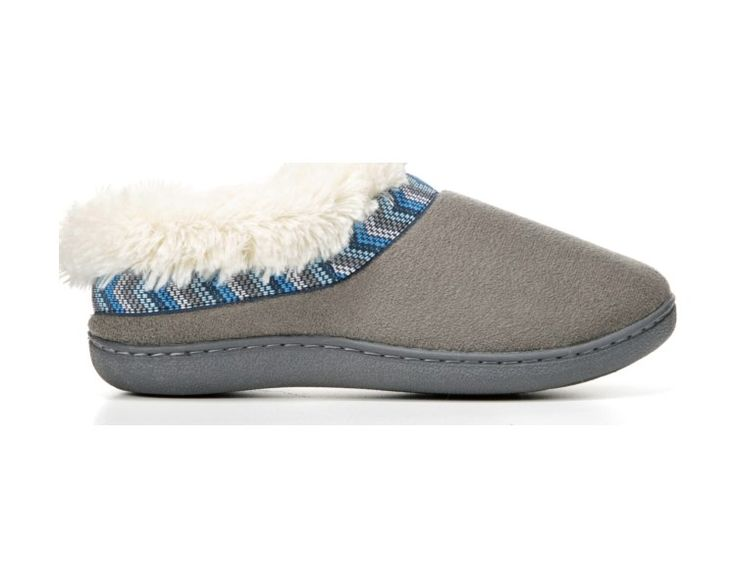 A texture story that cradles and comforts. This plush slipper will delight and warm your feet as it keeps you feeling your stylish best.Microfiber upperBold stitch detailFleece lining and collarDurable sole for outdoor wear