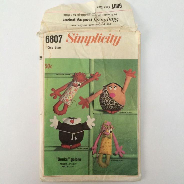 Vintage 1960's Sewing Pattern Simplicity 6807 Gonks Galore Uncut FF Gonk 60s  | eBay
