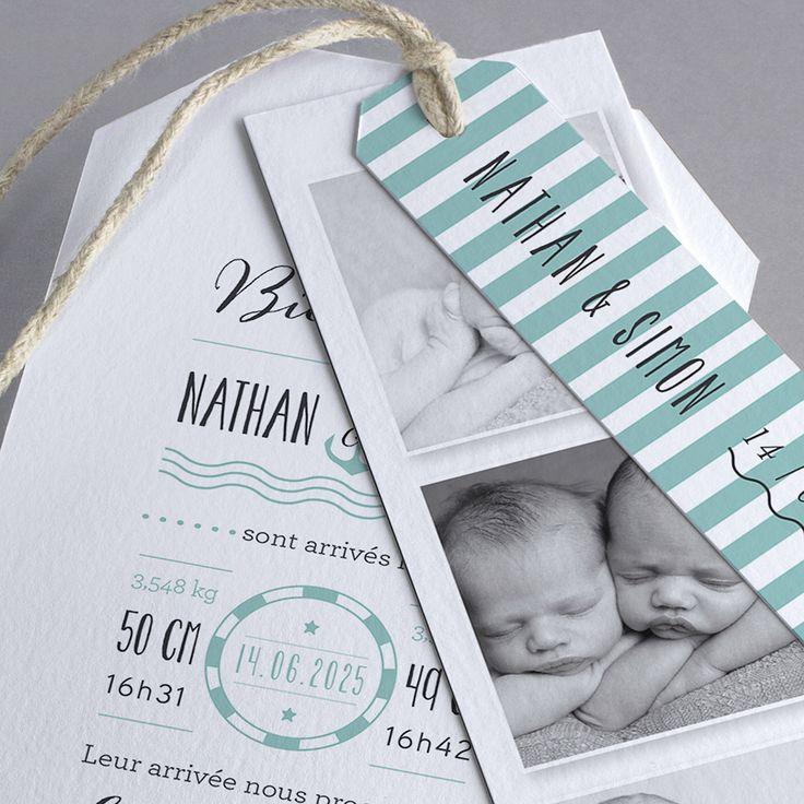 Faire-part de naissance personnalisés, faire-parttendance, marin, jumeaux, nouveauté fpc