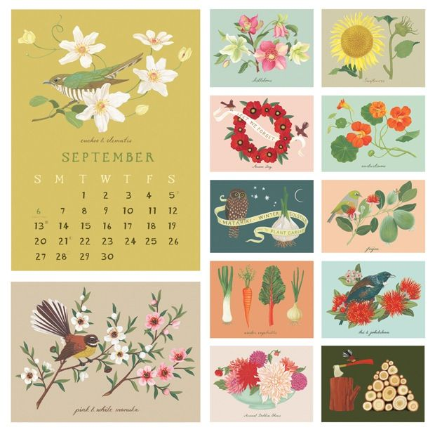 2015 Gardening calendar by Wolfkamp & Stone, published by Live Wires NZ Ltd.