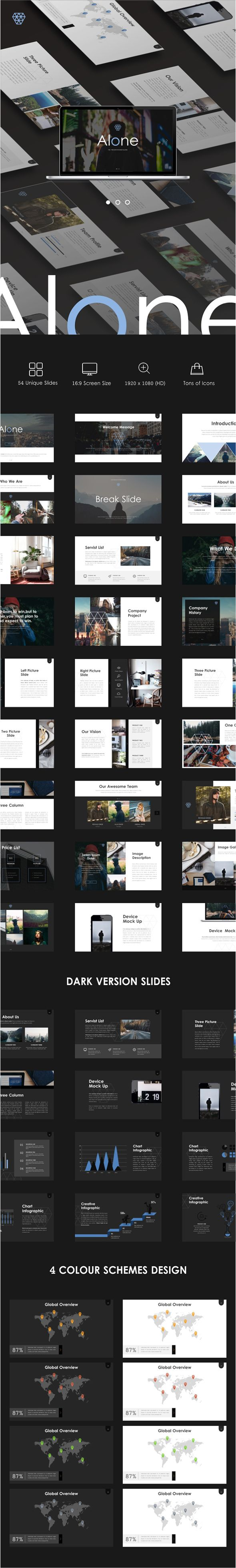 Alone - Powerpoint Template - 54 Unique Slides