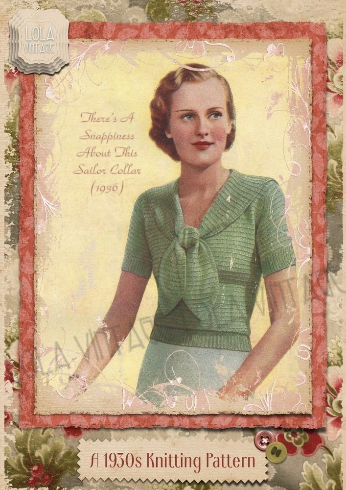 Vintage 1930s Knitting Pattern Lady's Jumper Sweater Sailor Collar Spring 1940s  | eBay
