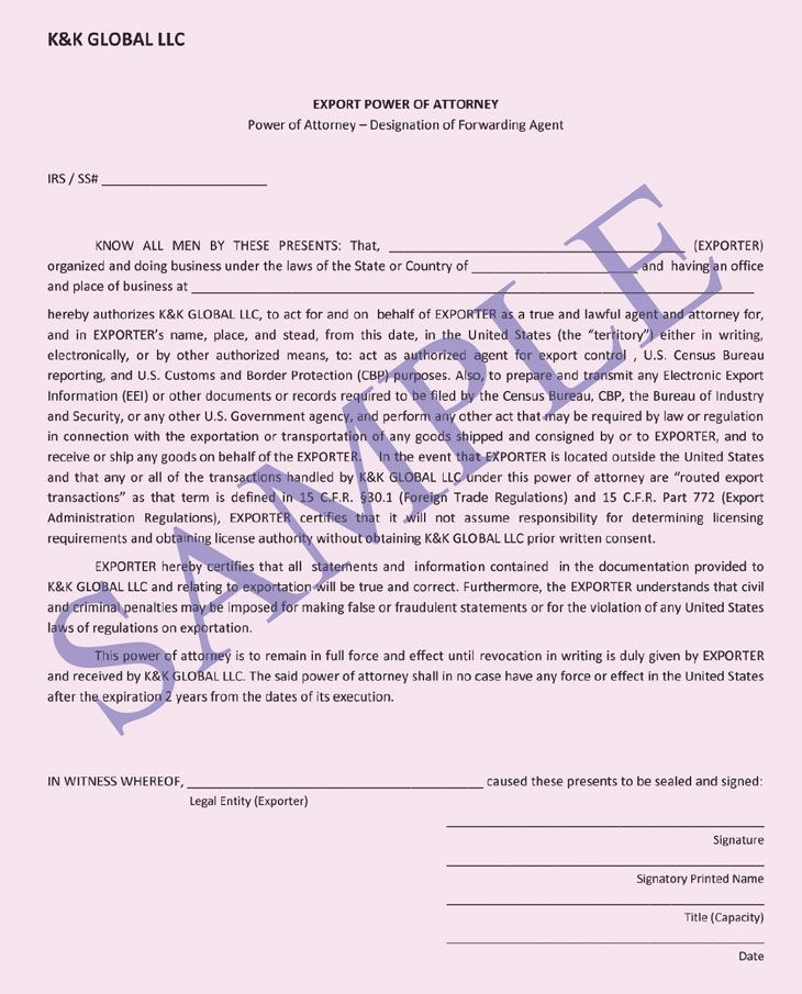 Printable Sample Power Of Attorney Sample Form
